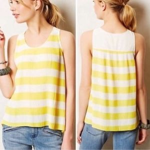 Anthropologie Maeve 6 Striped Pleated Tank Top